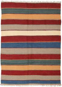 Kelim Teppe 140X198 Ekte Orientalsk Håndvevd Mørk Rød/Lysbrun (Ull, Persia/Iran)