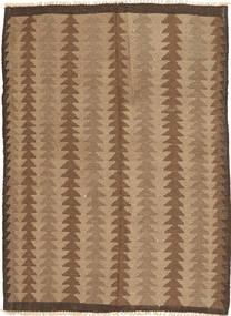 Kelim Teppe 140X188 Ekte Orientalsk Håndvevd Brun/Lysbrun (Ull, Persia/Iran)