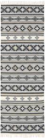 Kelim Cizre Teppe 80X350 Ekte Moderne Håndvevd Teppeløpere Lys Grå/Mørk Grå (Ull, India)