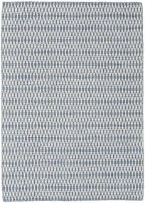 Kelim Long Stitch - Blå Teppe 140X200 Ekte Moderne Håndvevd Lys Blå/Hvit/Creme/Lys Grå (Ull, India)