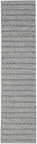 Kelim Long Stitch - Svart/Grå Teppe 80X340 Ekte Moderne Håndvevd Teppeløpere Lys Grå/Turkis Blå (Ull, India)