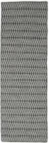 Kelim Long Stitch - Svart/Grå Teppe 80X240 Ekte Moderne Håndvevd Teppeløpere Mørk Grå/Lys Grå (Ull, India)