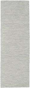 Kelim Honey Comb - Grå Teppe 80X240 Ekte Moderne Håndvevd Teppeløpere Lys Grå/Beige (Ull, India)
