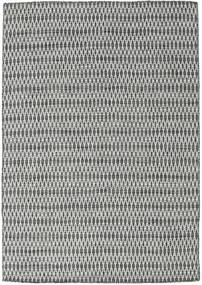 Kelim Long Stitch - Svart/Grå Teppe 160X230 Ekte Moderne Håndvevd Lys Grå/Mørk Grå (Ull, India)