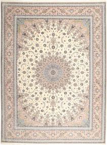 Isfahan Silkerenning Teppe 315X420 Ekte Orientalsk Håndknyttet Lys Grå/Beige Stort (Ull/Silke, Persia/Iran)