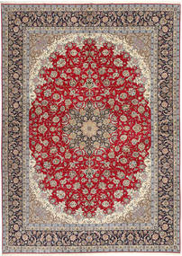 Isfahan Silkerenning Teppe 300X417 Ekte Orientalsk Håndknyttet Lys Grå/Mørk Rød Stort (Ull/Silke, Persia/Iran)