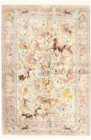 Ghom Silke Teppe 140X211 Ekte Orientalsk Håndknyttet Beige/Lyserosa (Silke, Persia/Iran)