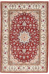 Isfahan Silkerenning Teppe 132X198 Ekte Orientalsk Håndknyttet Mørk Rød/Beige (Ull/Silke, Persia/Iran)
