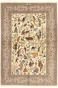 Ilam Sherkat Farsh Silke Teppe 150X220 Ekte Orientalsk Håndknyttet Beige/Brun/Lysbrun (Ull/Silke, Persia/Iran)