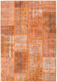 Patchwork Teppe 161X233 Ekte Moderne Håndknyttet Orange/Lysbrun (Ull, Tyrkia)