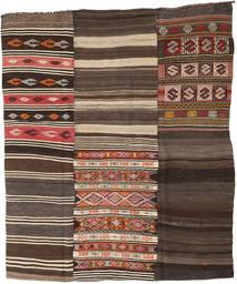 Kelim Patchwork Teppe 210X248 Ekte Moderne Håndvevd Mørk Brun/Mørk Grå (Ull, Tyrkia)