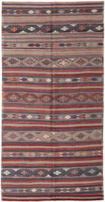 Kelim Tyrkiske Teppe 176X340 Ekte Orientalsk Håndvevd Mørk Grå/Mørk Rød (Ull, Tyrkia)