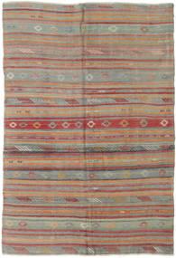 Kelim Tyrkiske Teppe 160X233 Ekte Orientalsk Håndvevd Mørk Grå/Mørk Rød (Ull, Tyrkia)