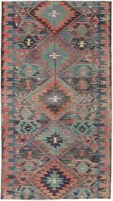 Kelim Tyrkiske Teppe 163X292 Ekte Orientalsk Håndvevd Mørk Grå/Lysbrun (Ull, Tyrkia)