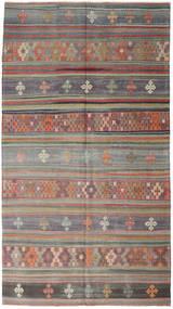 Kelim Tyrkiske Teppe 163X295 Ekte Orientalsk Håndvevd Mørk Grå/Brun (Ull, Tyrkia)