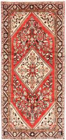 Hamadan Teppe 150X326 Ekte Orientalsk Håndknyttet Teppeløpere Mørk Rød/Mørk Beige (Ull, Persia/Iran)
