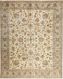 Tabriz Patina Teppe 303X380 Ekte Orientalsk Håndknyttet Beige/Brun Stort (Ull, Persia/Iran)