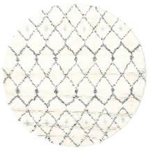 Sauda - Natural Grå Teppe Ø 150 Ekte Moderne Håndknyttet Rundt Beige/Hvit/Creme (Ull, India)