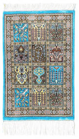 Ghom Silke Teppe 30X40 Ekte Orientalsk Håndknyttet Beige/Mørk Grå/Lys Grå (Silke, Persia/Iran)