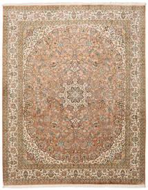 Kashmir Ren Silke Teppe 204X257 Ekte Orientalsk Håndknyttet Brun/Lysbrun (Silke, India)