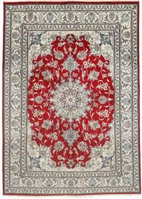 Nain Teppe 150X207 Ekte Orientalsk Håndknyttet Lys Grå/Mørk Rød (Ull, Persia/Iran)