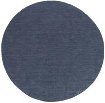 Kelim Loom - Denim Blå Teppe Ø 200 Ekte Moderne Håndvevd Rundt Blå (Ull, India)