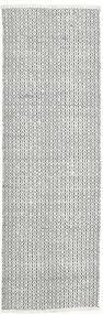 Alva - Vit/Svart Teppe 80X250 Ekte Moderne Håndvevd Teppeløpere Lys Grå/Beige (Ull, India)