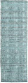 Alva - Turquoise/Vit Teppe 80X250 Ekte Moderne Håndvevd Teppeløpere Lys Blå/Mørk Turkis (Ull, India)