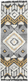Deco Teppe 80X250 Ekte Moderne Håndvevd Teppeløpere Lys Grå/Mørk Grå (Ull, India)