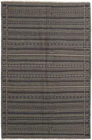 Kelim Teppe 155X236 Ekte Orientalsk Håndvevd Mørk Grå/Svart/Lys Grå (Ull, Persia/Iran)