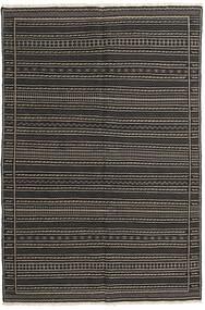 Kelim Teppe 155X230 Ekte Orientalsk Håndvevd Svart/Mørk Grå (Ull, Persia/Iran)