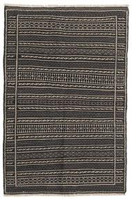 Kelim Teppe 100X151 Ekte Orientalsk Håndvevd Svart/Mørk Grå/Lys Grå (Ull, Persia/Iran)