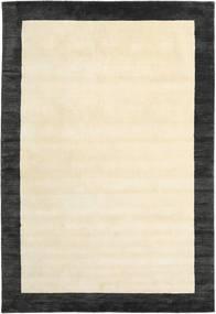 Handloom Frame - Svart/Vit Teppe 200X300 Moderne Beige/Mørk Grå (Ull, India)