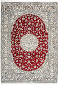 Nain 9La Teppe 246X345 Ekte Orientalsk Håndknyttet Lys Grå/Beige (Ull/Silke, Persia/Iran)