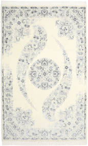 Nain 9La Teppe 204X322 Ekte Orientalsk Håndknyttet Hvit/Creme/Lys Grå/Beige (Ull/Silke, Persia/Iran)