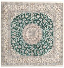 Nain 9La Teppe 302X304 Ekte Orientalsk Håndknyttet Kvadratisk Lys Grå/Beige Stort (Ull/Silke, Persia/Iran)