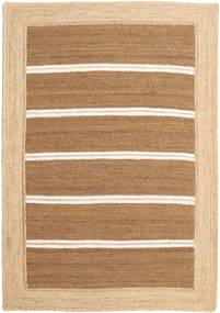 Frida Stripe - Brun Teppe 140X200 Ekte Moderne Håndvevd Mørk Beige/Beige/Lysbrun ( India)