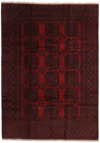 Afghan Teppe 200X279 Ekte Orientalsk Håndknyttet Mørk Rød (Ull, Afghanistan)