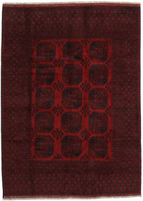 Afghan Teppe 199X275 Ekte Orientalsk Håndknyttet Mørk Rød (Ull, Afghanistan)