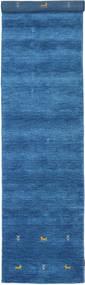 Gabbeh Loom Two Lines - Blå Teppe 80X350 Moderne Teppeløpere Blå/Mørk Blå (Ull, India)