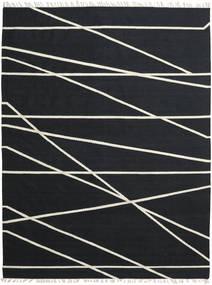 Cross Lines - Svart/Off White Teppe 200X300 Ekte Moderne Håndvevd Svart (Ull, India)