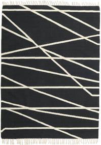 Cross Lines - Svart/Off White Teppe 160X230 Ekte Moderne Håndvevd Mørk Grå/Beige (Ull, India)