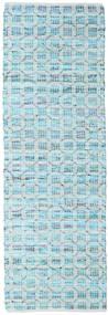 Elna - Bright_Blue Teppe 80X250 Ekte Moderne Håndvevd Teppeløpere Lys Blå/Turkis Blå (Bomull, India)