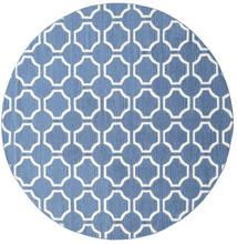 London - Blå/Off White Teppe Ø 225 Ekte Moderne Håndvevd Rundt Blå/Hvit/Creme (Ull, India)