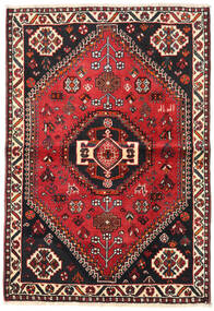 Shiraz Teppe 106X154 Ekte Orientalsk Håndknyttet Svart/Mørk Rød (Ull, Persia/Iran)