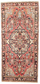 Hamadan Teppe 100X215 Ekte Orientalsk Håndknyttet Lyserosa/Mørk Rød (Ull, Persia/Iran)