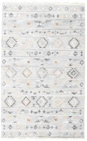 Pet Yarn Kelim Teppe 160X230 Ekte Moderne Håndvevd Hvit/Creme/Lys Grå ( India)