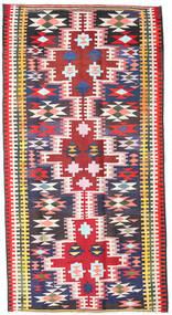 Kelim Fars Teppe 190X360 Ekte Orientalsk Håndvevd Svart/Lyserosa (Ull, Persia/Iran)
