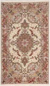 Tabriz 50 Raj Med Silke Teppe 75X127 Ekte Orientalsk Håndknyttet Beige/Mørk Brun (Ull/Silke, Persia/Iran)