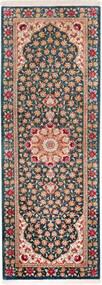 Ghom Silke Teppe 48X140 Ekte Orientalsk Håndknyttet Teppeløpere Mørk Grå/Brun (Silke, Persia/Iran)